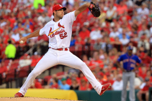 St. Louis Cardinals starting pitcher Michael Wacha delivers a pitch to the New York Mets in the second inning at Busch Stadium in St. Louis on June 17, 2014.  UPI/Bill Greenblatt