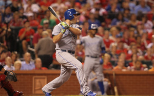 Kansas City Royals Mike Moustakas swings, hitting a two RBI double in the seventh inning against the St. Louis Cardinals at Busch Stadium in St. Louis on June 2, 2014.     UPI/Bill Greenblatt