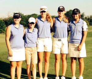 The five members of the 2014 Junior Girls Four-State Golf Championship team (photo/mowomensga.org)