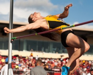 Morgan Whitson competes in the high jump at NCAA Regionals (photo/Mizzou Athletics)
