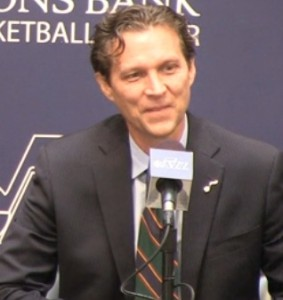 Quin Snyder answers questions during his introductory press conference.