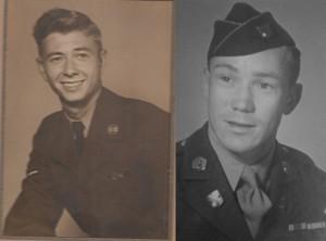 A 3/C Wayne Dean Jackson (left) and TSGT Leonard G. Unger