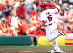 St. Louis Cardinals Kolten Wong pumps his fist after hitting a grand slam home run in the second inning against the Kansas City Royals at Busch Stadium in St. Louis on June 3, 2014.     UPI/Bill Greenblatt