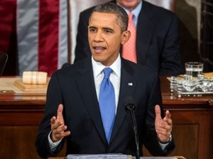 President Barack Obama delivers his 2013 State of the Union address.  (Courtesy; White House Media Affairs)