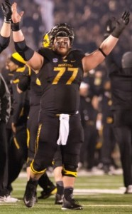 Evan Boehm celebrates the Tigers, SEC East clinching victory over Texas A & M (photo/Mizzou Athletics)