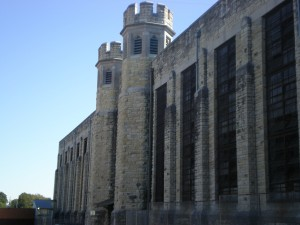 The turrets at the center of Housing Unit 3 were intended to intimidate inmates being housed there.  (courtesy; Jefferson City Convention and Visitors Bureau)