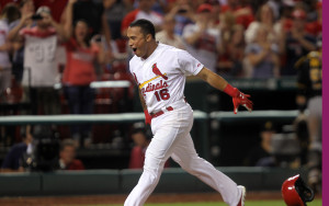St. Louis Cardinals Kolten Wong runs to home plate after hitting a walkoff home run in the ninth inning to defeat the Pittsburgh Pirates 5-4 at Busch Stadium in St. Louis on July 8, 2014. UPI/Bill Greenblatt