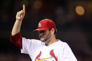 St. Louis Cardinals starting pitcher Lance Lynn acknowledges the crowd as he comes out of the game in the seventh inning against the Pittsburgh Pirates at Busch Stadium in St. Louis on July 9, 2014. UPI/Bill Greenblatt