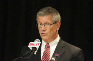 Missouri Valley Conference (MVC) Commissioner Doug Elgin announces that the MVC men's basketball tournament will remain in St. Louis at the Scottrade Center for the next three years during a press conference in St. Louis on July 9, 2014. The Missouri Valley will celebrate 25 straight years of this tournament in St. Louis March of 2015. UPI/Bill Greenblatt