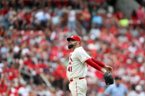 St. Louis Cardinals relief pitcher Pat Neshek stretches between batters in the eighth inning in a game against the Miami Marlins at Busch Stadium in St. Louis on July 5, 2014.   UPI/Bill Greenblatt