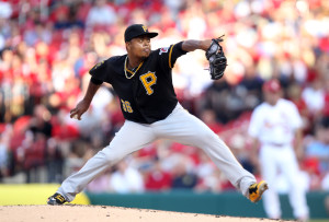 Pittsburgh Pirates starting pitcher Edinson Volquez delivers a pitch to the St. Louis Cardinals in the second inning at Busch Stadium in St. Louis on July 10, 2014. UPI/Bill Greenblatt