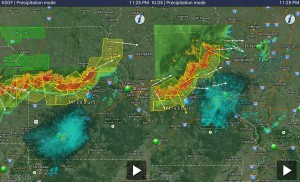 Radar images from the Springfield (left) and St. Louis NWS radar, courtesy of Weathertap zoom.