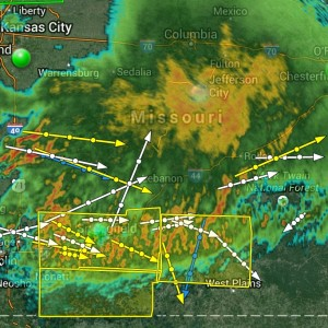Storms continue to sweep south through the state and are still prompting the issuance of severe thunderstorm warnings.  (image courtesy; WeatherTap Zoom)
