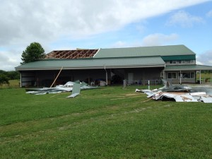 Monday's storm damaged a warehouse at the Second Chance animal rescue in Boonville.  (photo courtesy; Second Chance's Facebook page)