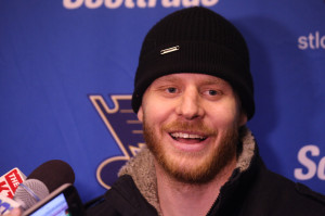 New St. Louis Blues player forward Steve Ott meets reporters for the first time, following the team's morning skate at the Scottrade Center in St. Louis on March 3, 2014. Ott (31) comes to St. Louis from Buffalo, where has dressed in 59 games as captain of the Sabres this season, ranking sixth on the club with 20 points (nine goals, 11 assists), while leading Buffalo forwards in ice time per game (19:42).UPI/Bill Greenblatt