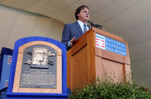 Former St. Louis Cardinals manager Tony La Russa delivers his induction speech during the National Baseball Hall of Fame induction ceremonies in Cooperstown, New York on July 27, 2014.  UPI/Bill Greenblatt
