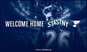 The St. Louis Blues promote the signing of Paul Stastny on the team's website (photo/Blues.NHL.com)