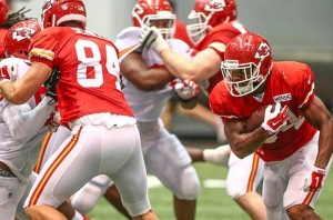 The Chiefs worked on a lot of redzone offense and defense indoors on Sunday.  (Photo courtesy/KCChiefs.com)
