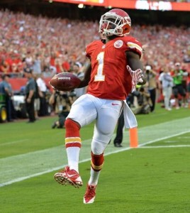 DeAnthony Thomas caps off his 80 yard punt return for a touchdown in the Chiefs win on Thursday night. (photo/NFL)