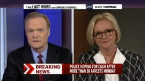 Senator Claire McCaskill appeared on MSNBC's Last Word with host Lawrence O'Donnell (left).  (screencap courtesy MSNBC)