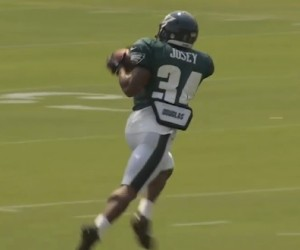 Henry Josey catches a pass  during a recent practice at Eagles camp.