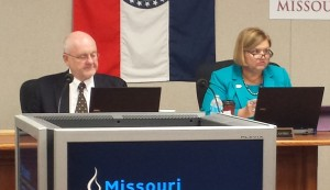 Missouri State Board of Education President Peter Herschend (left) and Education Commissioner Chris Nicastro listen to presentations at a State Board meeting.