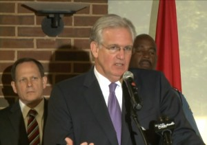 Governor Jay Nixon announces the Highway Patrol will take over security in Ferguson (screencap courtesy of KSDK)