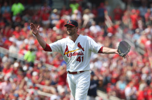 St. Louis Cardinals starting pitcher John Lackey celebrates after getting out of a seventh inning jam against the Milwaukee Brewers at Busch Stadium in St. Louis on August 3,  2014.UPI/Bill Greenblatt