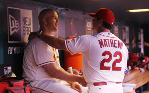 St. Louis Cardinals starting pitcher Justin Masterson is congratulated in the dugout by manager Mike Matheny after completing  six innings against the Milwaukee Brewers at Busch Stadium in St. Louis on August 2,  2014.UPI/Bill Greenblatt