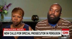 Michael Brown's parents, Lesley McSpadden and Michael Brown, Senior, talk to CNN's Anderson Cooper.  (file screencap courtesy; CNN)