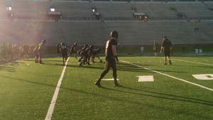 The offense warms up during the Tigers' major scrimmage on Tuesday morning.