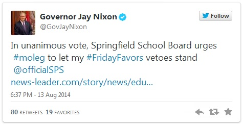 Nixon Tweet 08-13-2014