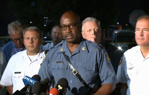 Captain Ron Johnson updates the media early Monday morning after violence Sunday night that he believes was orchestrated.  (screencap courtesy; KSDK)