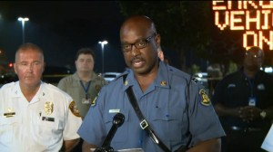 Highway Patrol Captain Ron Johnson briefs reporters early Saturday morning.  (screencap courtesy KSDK)