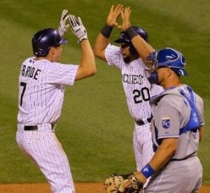 Matt McBride (L) celebrates his grand slam with a teammate. (photo/MLB)