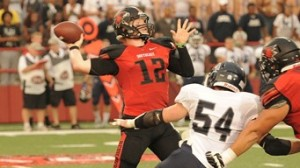 SEMO QB Kyle Snyder threw for 198 yards and two touchdowns, and rushed for two TDs in the Redhawks win over Missouri Baptist (photo/GoSoutheast.com)
