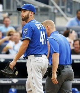 Danny Duffy leaves Saturday's game after just one pitch.  (photo/MLB)