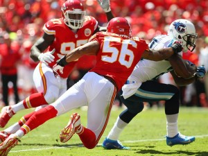 Chiefs linebacker Derrick Johnson comes in on a play against Tennessee.  He left with an achilles injury (photo/KC Chiefs)
