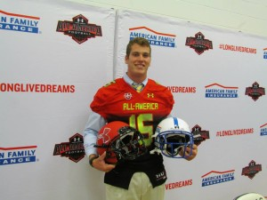 Hale Hentges poses with his honorary All-American jersey at Helias Catholic