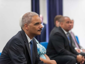 Attorney General Eric Holder during his visit to Ferguson.  (courtesy; U.S. Department of Justice)
