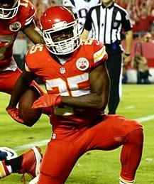 Jamaah Charles reaches the endzone against the Patriots (photo/KCChiefs.com)