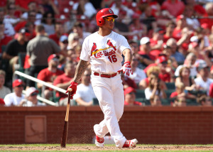 Kolten Wong watches his two run homer in the seventh inning.  (photo/Bill Greenblatt, UPI)