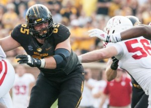Mitch Morse was part of an offensive line that had five false start penalties, and gave up 11 tackles behind the line of scrimmage (photo/Mizzou Athletics)