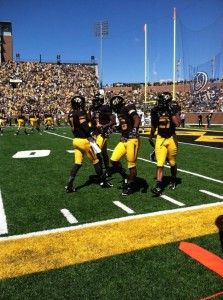 Maty Mauk and Jimmie Hunt celebrate their second touchdown (Emily Dayton)