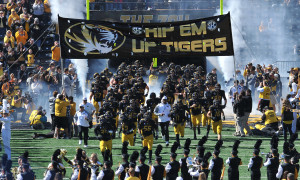 The Mizzou Tigers take the field for a game against the University of Central Florida Knights at Faurot Field in Columbia, Missouri on September 13, 2014. Missouri won the game 38-10.     UPI/Bill Greeblatt
