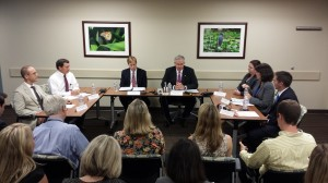 Governor Jay Nixon (right of center) conducts a roundtable of medical professionals and pushes for his veto of e-cigarette legislation to be sustained.