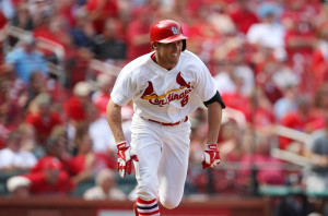 St. Louis Cardinals Peter Bourjos smiles as he runs to first base after hitting the game winning RBI in the ninth inning to defeat the Pittsburgh Pirates 1-0 at Busch Stadium in St. Louis on September 3, 2014. UPI/Bill Greenblatt
