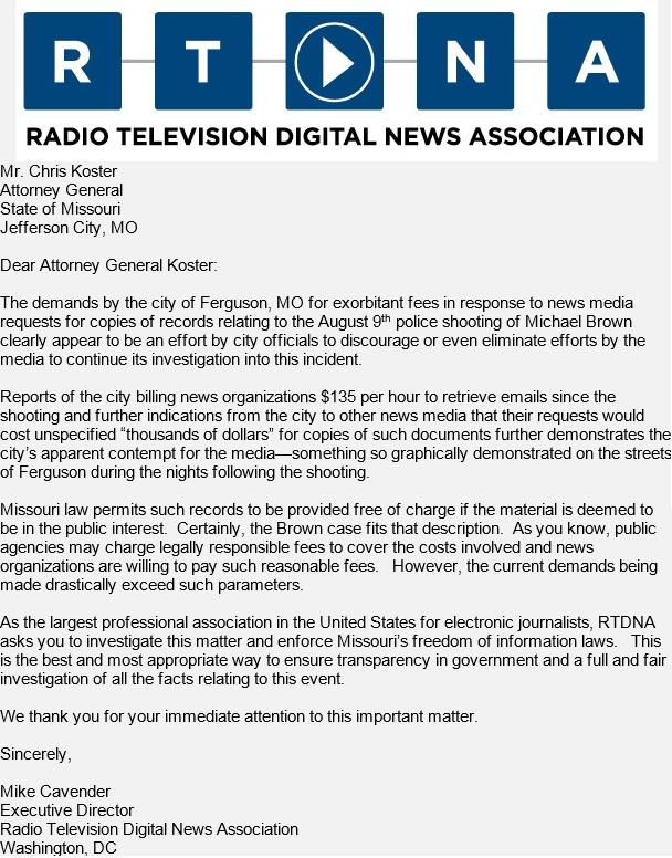 RTDNA to AG on Ferguson