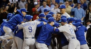 The Royals celebrate their postseason clinching win in Chicago (photo/MLB)