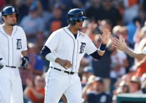 Victor Martinez is greeted at home plate.  (photo/MLB)